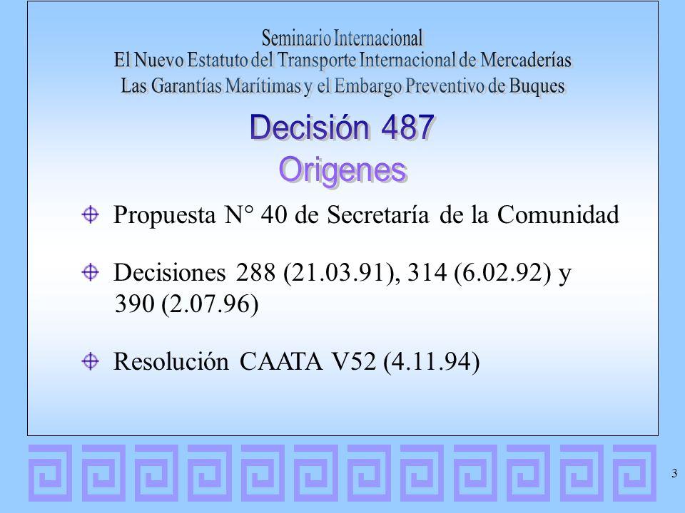 Propuesta N° 40 de Secretaría de la Comunidad Decisiones 288 (21.03.91), 314 (6.02.92) y 390 (2.07.96) Resolución CAATA V52 (4.11.94) 3