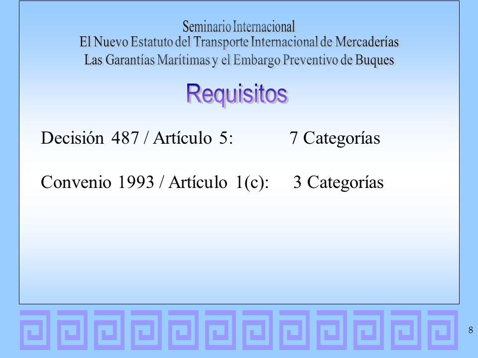 Decisión 487 / Artículo 5: 7 Categorías Convenio 1993 / Artículo 1(c): 3 Categorías 8