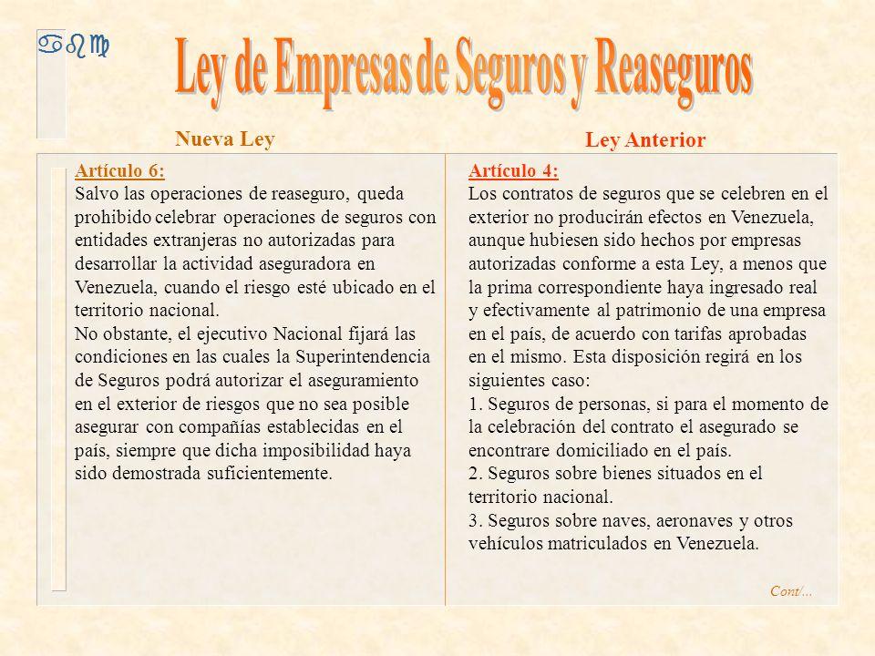 abc Artículo 6: Salvo las operaciones de reaseguro, queda prohibido celebrar operaciones de seguros con entidades extranjeras no autorizadas para desarrollar la actividad aseguradora en Venezuela, cuando el riesgo esté ubicado en el territorio nacional.