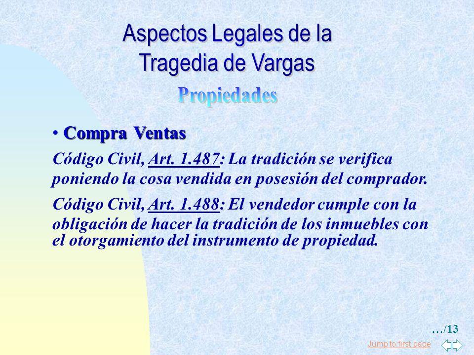 Jump to first page Compra Ventas Código Civil, Art. 1.161: En los Contratos que tienen por objeto la trasmisión de la propiedad u otro derecho, la pro