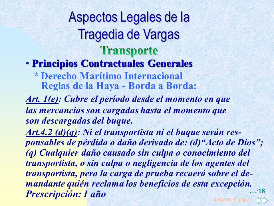 Jump to first page Principios Contractuales Generales * Derecho Marítimo Venezolano Código de Comercio, Art. 634: El capitán es responsable del deteri