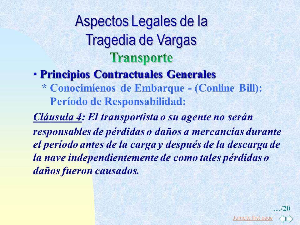 Jump to first page Principios Contractuales Generales * Derecho Marítimo Internacional Reglas de la Haya - Desviaciones: Art. 4.4: Cualquier desviació