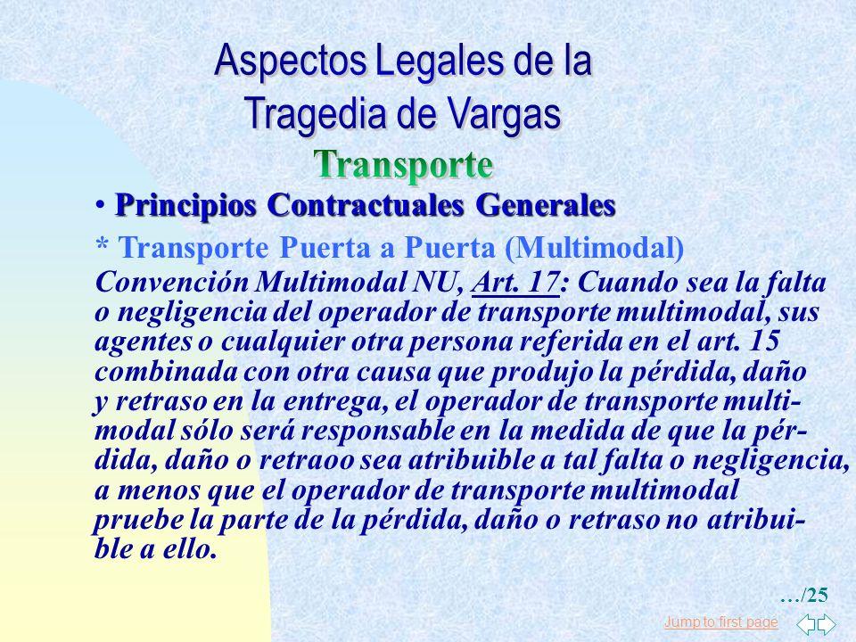 Jump to first page Principios Contractuales Generales * Transporte Puerta a Puerta (Multimodal) Convención Multimodal NU, Art. 16(1): El operador de t