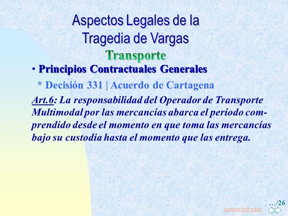 Jump to first page Principios Contractuales Generales * Transporte Puerta a Puerta (Multimodal) Convención Multimodal NU, Art. 17: Cuando sea la falta