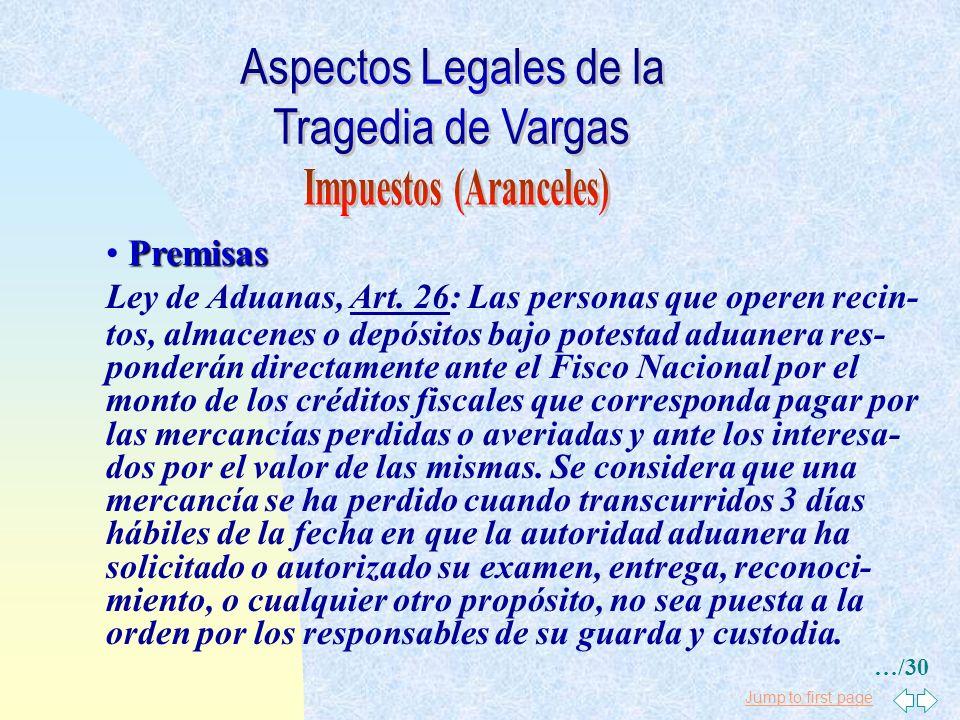Jump to first page Premisas Ley de Aduanas, Art. 86: Las mercancías causarán los impuestos establecidos en el artículo 84, a la fecha de su llegada a