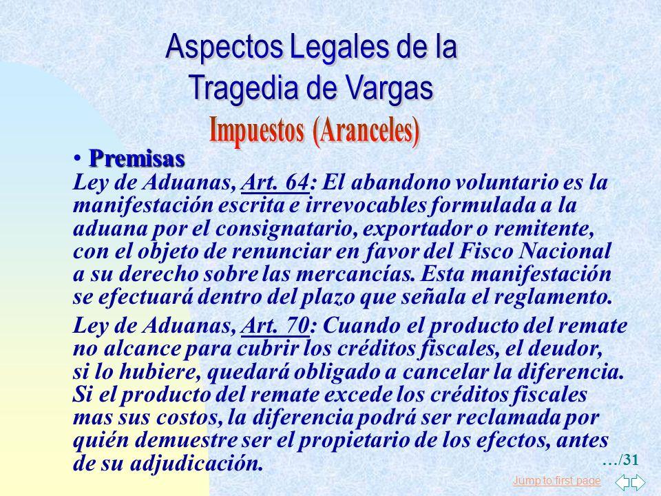 Jump to first page Premisas Ley de Aduanas, Art. 26: Las personas que operen recin- tos, almacenes o depósitos bajo potestad aduanera res- ponderán di