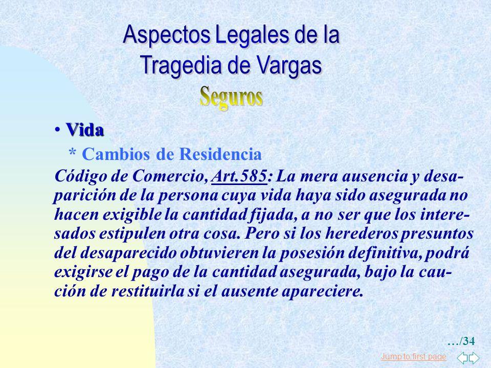 Jump to first page Vida * Cambios de Residencia Código de Comercio, Art.586: Los cambios de residencia, de ocupaci´n, de estado y de género de vida po