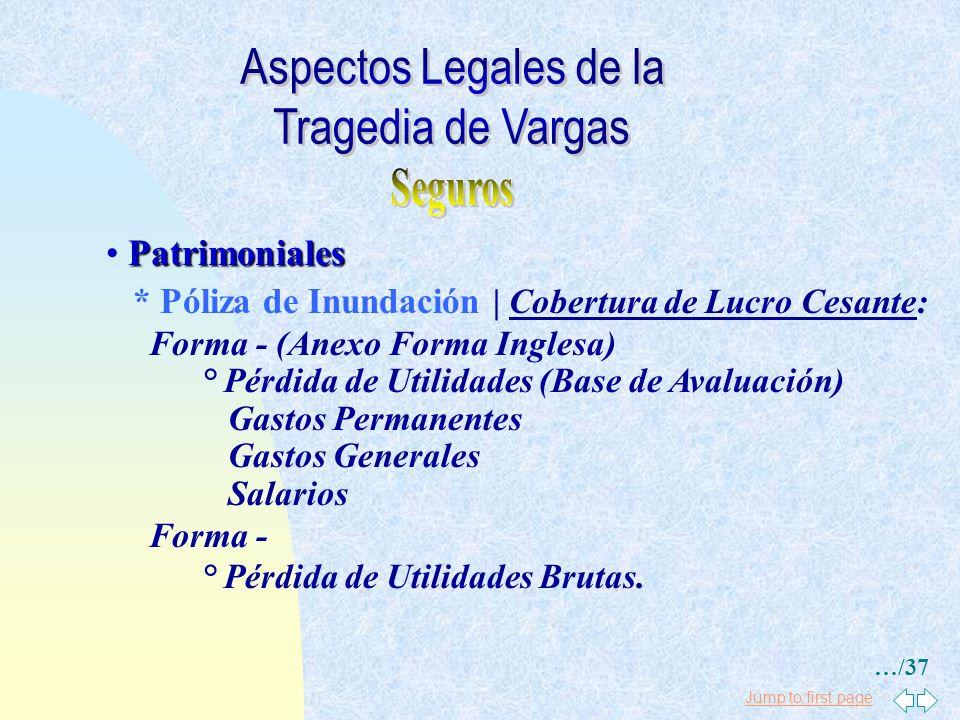 Jump to first page Patrimoniales * Póliza de Incendio | Cobertura: Daño directo a: ° Edificaciones ° Maquinarias y Equipos Industriales ° Instalacione
