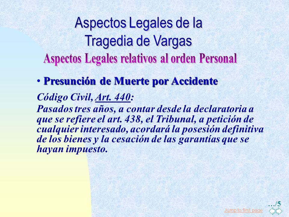 Jump to first page Presunción de Muerte por Accidente Código Civil, Art. 438: Si una persona se ha encontrado en un naufragio, incendio, terremoto, gu