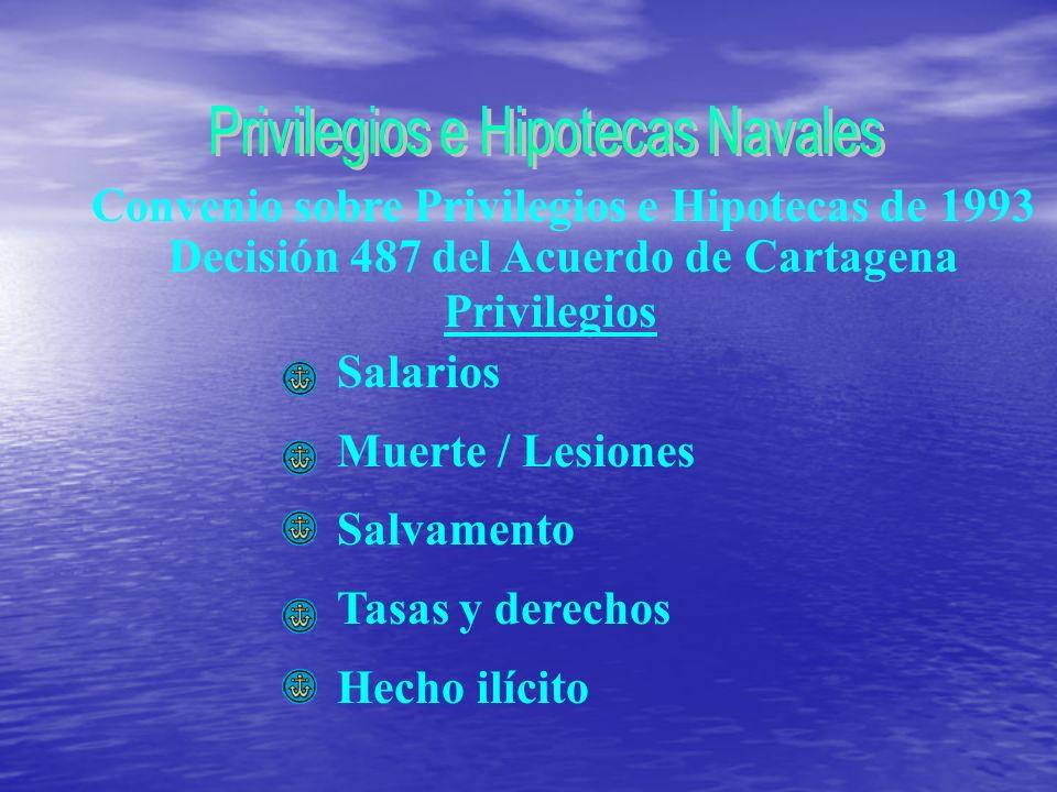 Convenio sobre Privilegios e Hipotecas de 1993 Decisión 487 del Acuerdo de Cartagena Privilegios Salarios Muerte / Lesiones Salvamento Tasas y derechos Hecho ilícito