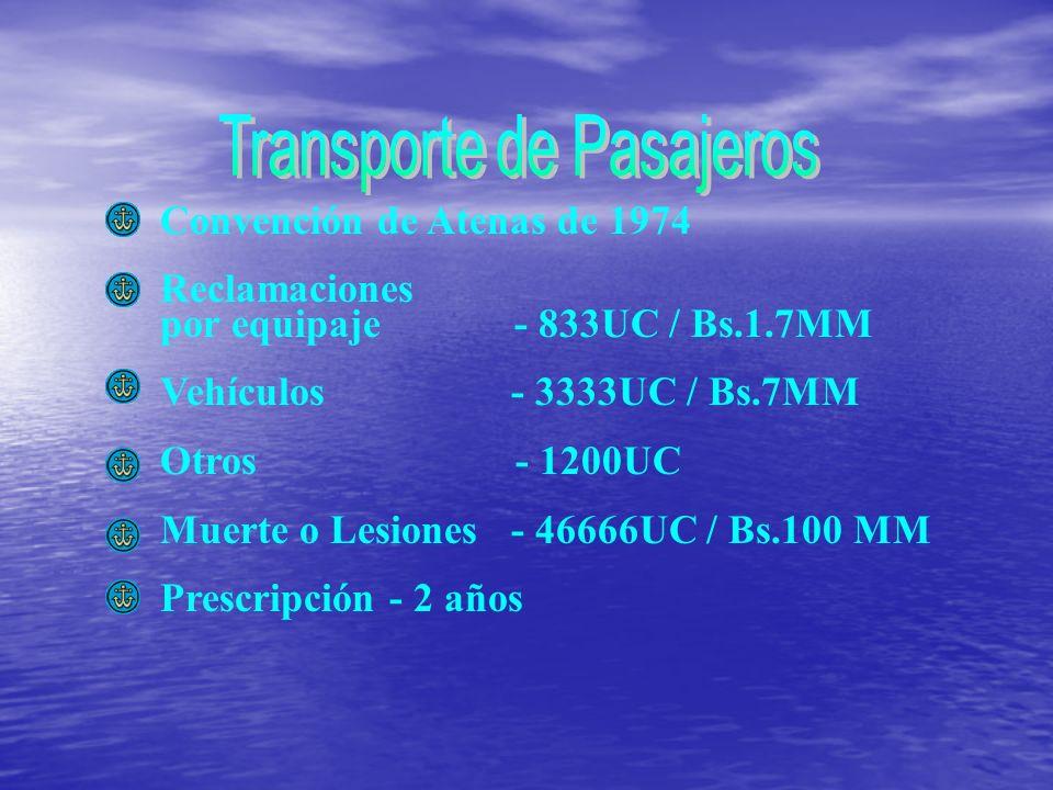 Convención de Atenas de 1974 Reclamaciones por equipaje - 833UC / Bs.1.7MM Vehículos - 3333UC / Bs.7MM Otros - 1200UC Muerte o Lesiones - 46666UC / Bs.100 MM Prescripción - 2 años