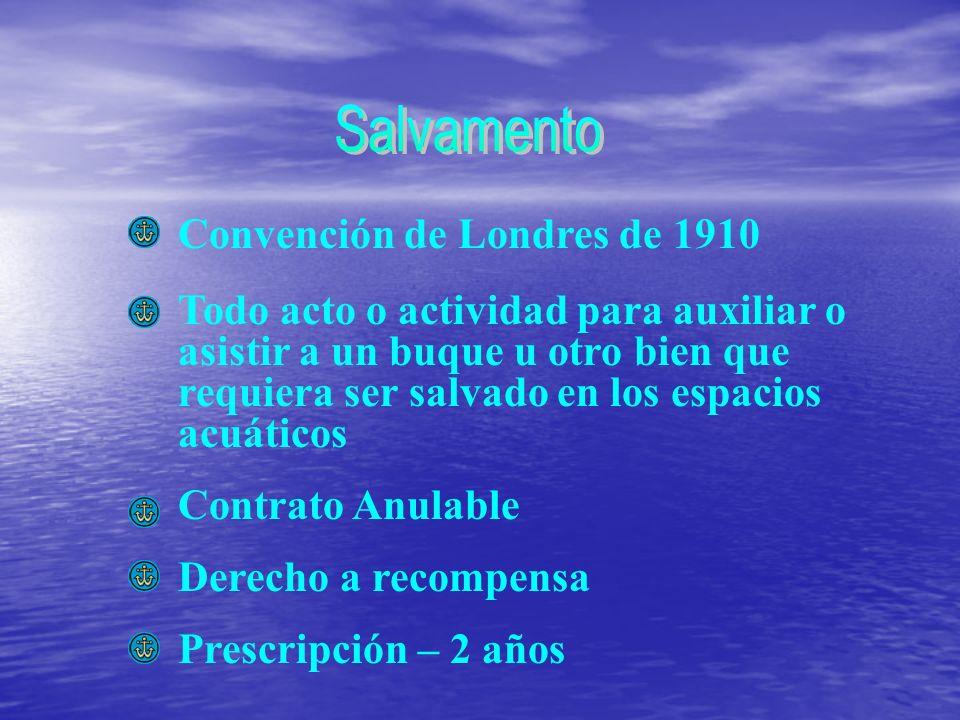 Convención de Londres de 1910 Todo acto o actividad para auxiliar o asistir a un buque u otro bien que requiera ser salvado en los espacios acuáticos Contrato Anulable Derecho a recompensa Prescripción – 2 años