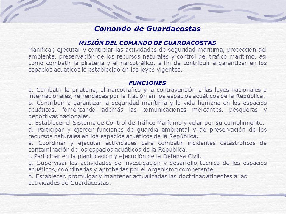 Comando de Guardacostas MISIÓN DEL COMANDO DE GUARDACOSTAS Planificar, ejecutar y controlar las actividades de seguridad marítima, protección del ambi
