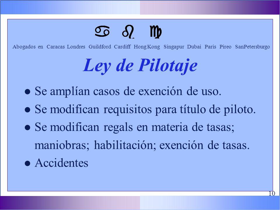l Se amplían casos de exención de uso. l Se modifican requisitos para título de piloto.
