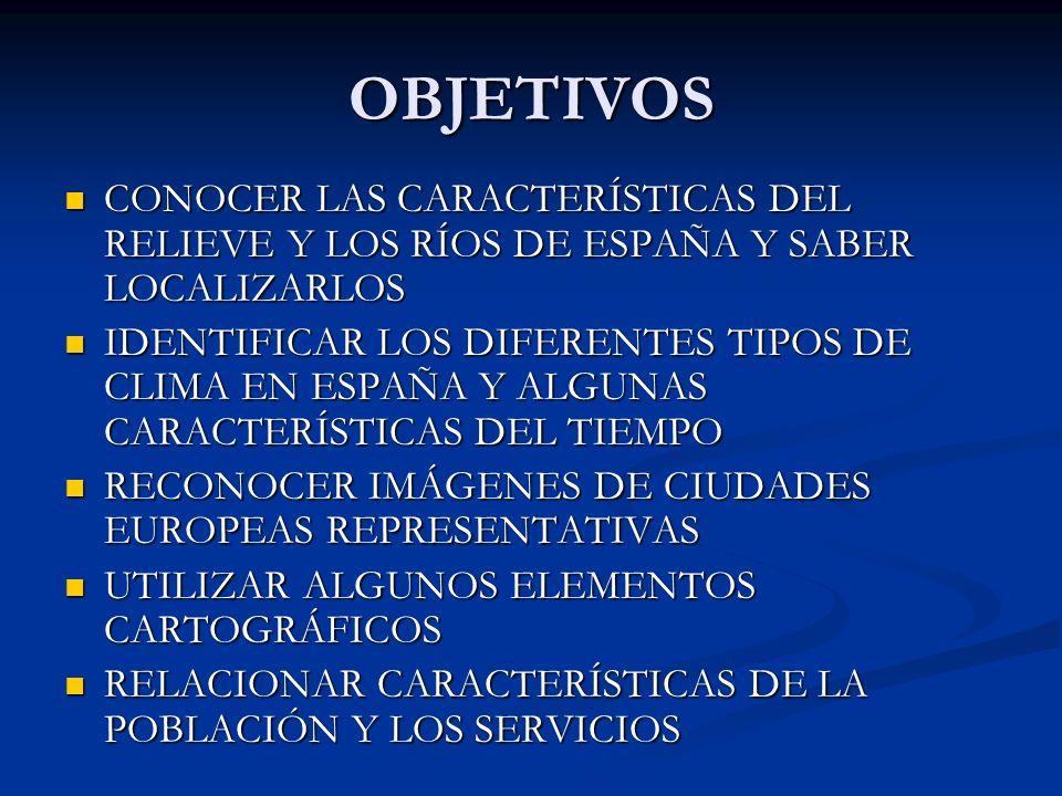 OBJETIVOS CONOCER LAS CARACTERÍSTICAS DEL RELIEVE Y LOS RÍOS DE ESPAÑA Y SABER LOCALIZARLOS CONOCER LAS CARACTERÍSTICAS DEL RELIEVE Y LOS RÍOS DE ESPA
