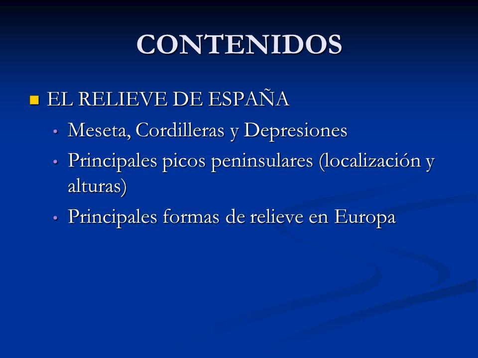 CONTENIDOS EL RELIEVE DE ESPAÑA EL RELIEVE DE ESPAÑA Meseta, Cordilleras y Depresiones Meseta, Cordilleras y Depresiones Principales picos peninsulare