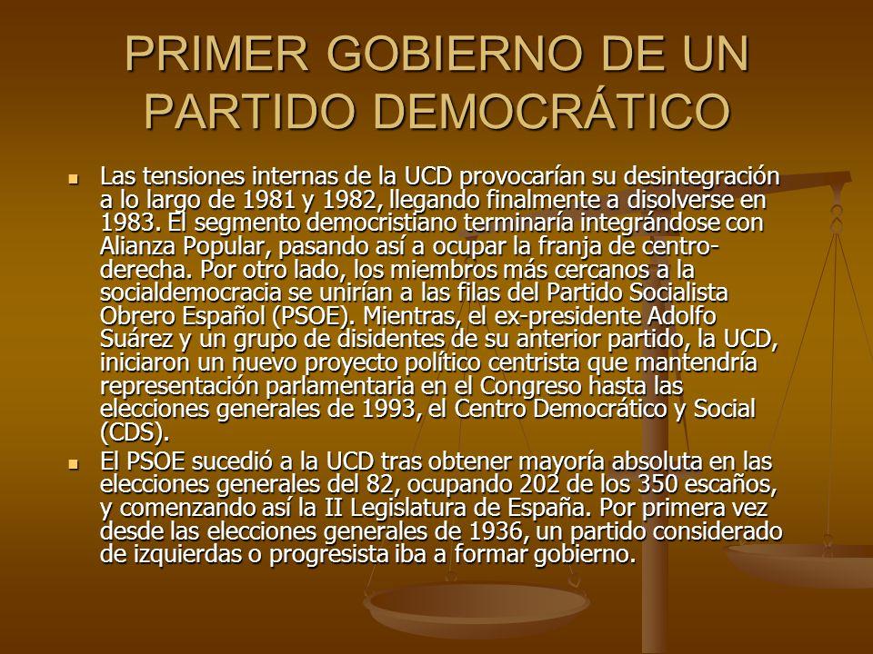 PRIMER GOBIERNO DE UN PARTIDO DEMOCRÁTICO Las tensiones internas de la UCD provocarían su desintegración a lo largo de 1981 y 1982, llegando finalment