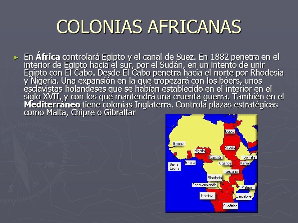 COLONIAS AFRICANAS En África controlará Egipto y el canal de Suez. En 1882 penetra en el interior de Egipto hacia el sur, por el Sudán, en un intento