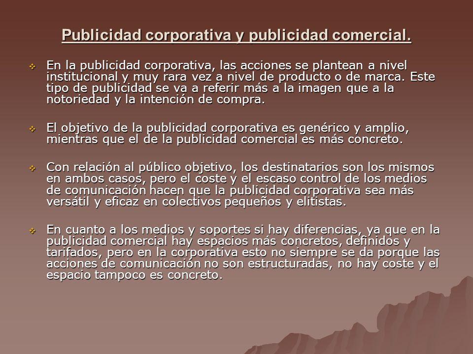 Publicidad corporativa y publicidad comercial.Publicidad corporativa y publicidad comercial.