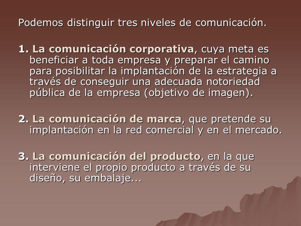 Podemos distinguir tres niveles de comunicación.1.