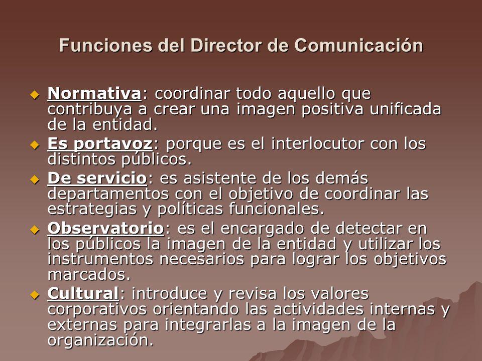 Funciones del Director de Comunicación Normativa: coordinar todo aquello que contribuya a crear una imagen positiva unificada de la entidad.