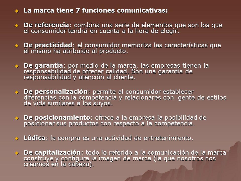 La marca tiene 7 funciones comunicativas: La marca tiene 7 funciones comunicativas: De referencia: combina una serie de elementos que son los que el consumidor tendrá en cuenta a la hora de elegir.