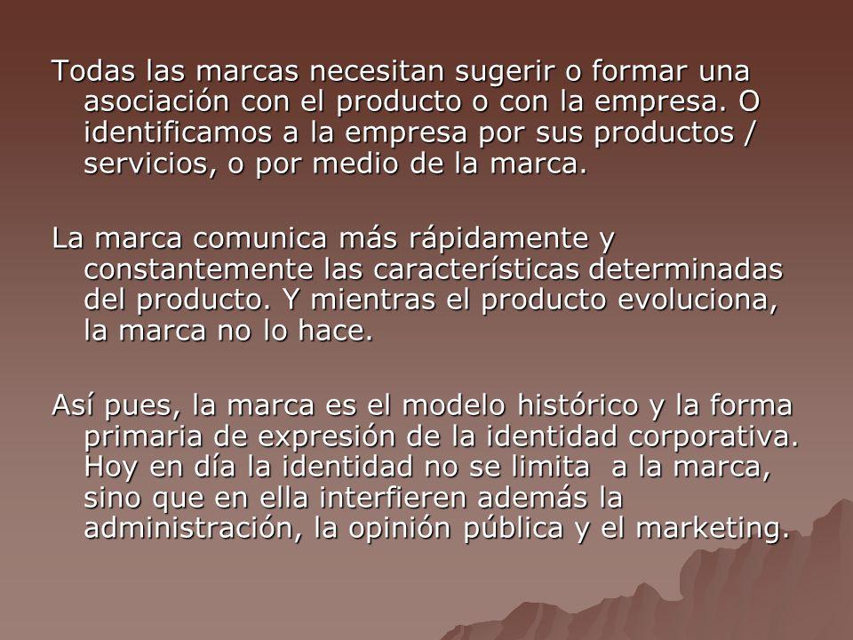 Todas las marcas necesitan sugerir o formar una asociación con el producto o con la empresa.