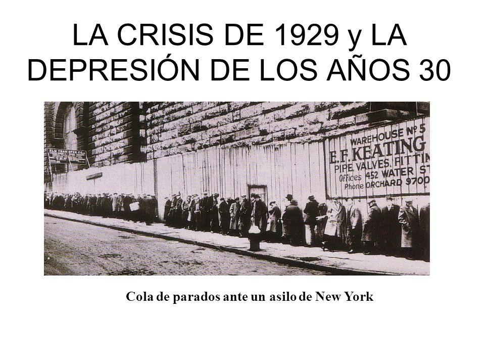 LA CRISIS DE 1929 y LA DEPRESIÓN DE LOS AÑOS 30 Cola de parados ante un asilo de New York