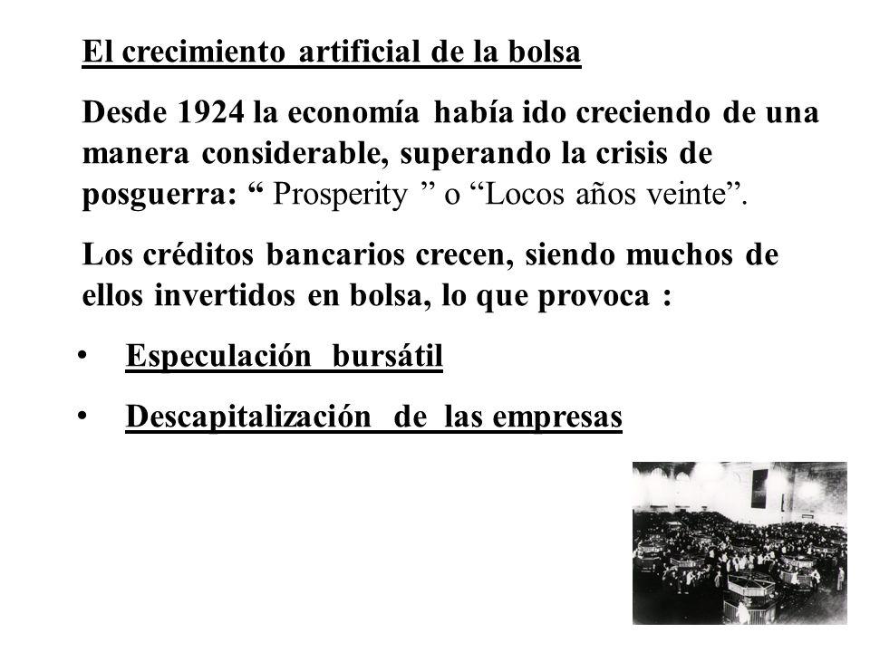 El crecimiento artificial de la bolsa Desde 1924 la economía había ido creciendo de una manera considerable, superando la crisis de posguerra: Prosper