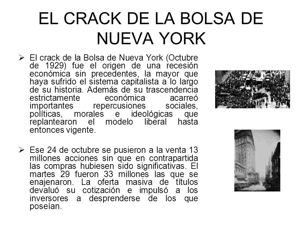 EL CRACK DE LA BOLSA DE NUEVA YORK El crack de la Bolsa de Nueva York (Octubre de 1929) fue el origen de una recesión económica sin precedentes, la ma