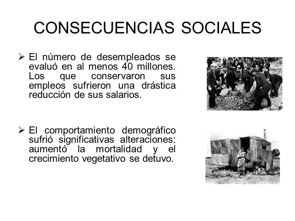 CONSECUENCIAS SOCIALES El número de desempleados se evaluó en al menos 40 millones. Los que conservaron sus empleos sufrieron una drástica reducción d