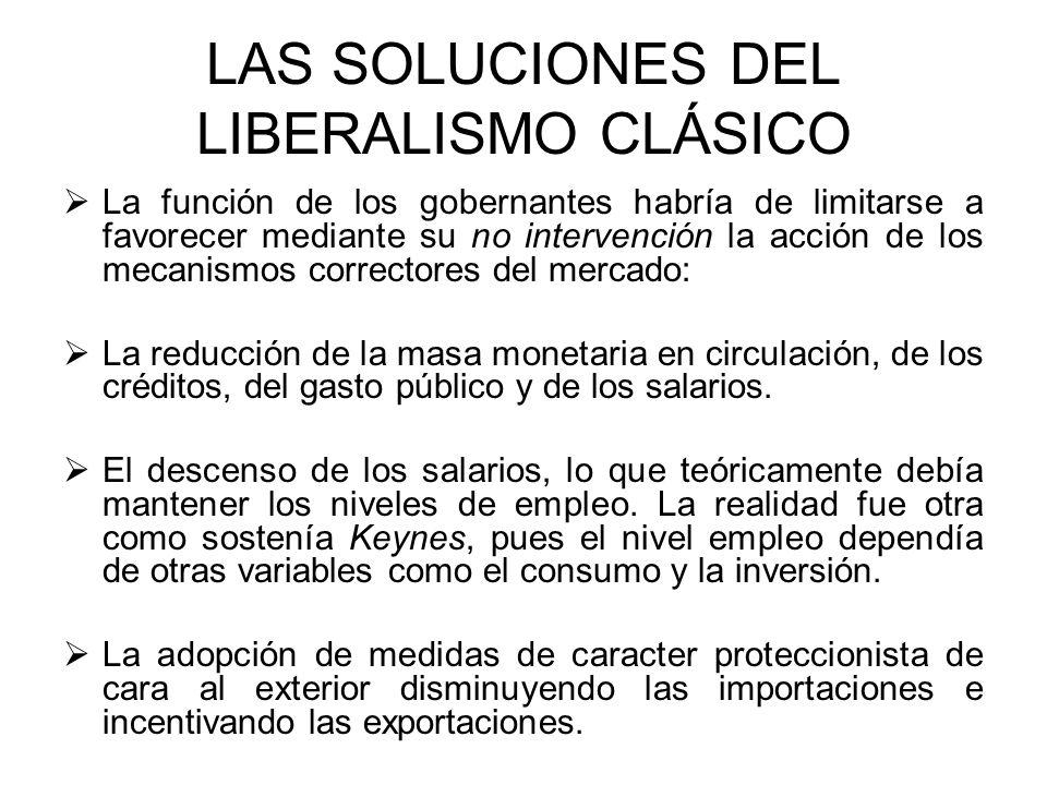 LAS SOLUCIONES DEL LIBERALISMO CLÁSICO La función de los gobernantes habría de limitarse a favorecer mediante su no intervención la acción de los meca