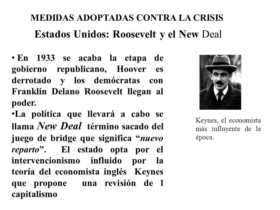 MEDIDAS ADOPTADAS CONTRA LA CRISIS Estados Unidos: Roosevelt y el New Deal En 1933 se acaba la etapa de gobierno republicano, Hoover es derrotado y lo