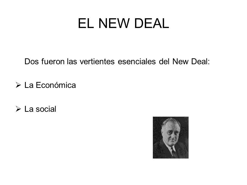 EL NEW DEAL Dos fueron las vertientes esenciales del New Deal: La Económica La social