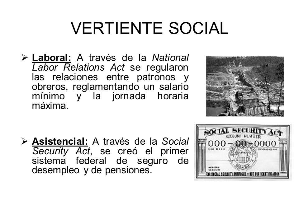 VERTIENTE SOCIAL Laboral: A través de la National Labor Relations Act se regularon las relaciones entre patronos y obreros, reglamentando un salario m