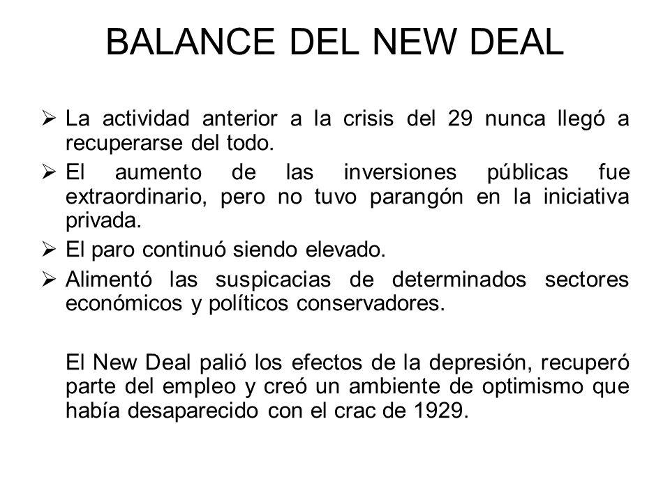 BALANCE DEL NEW DEAL La actividad anterior a la crisis del 29 nunca llegó a recuperarse del todo. El aumento de las inversiones públicas fue extraordi