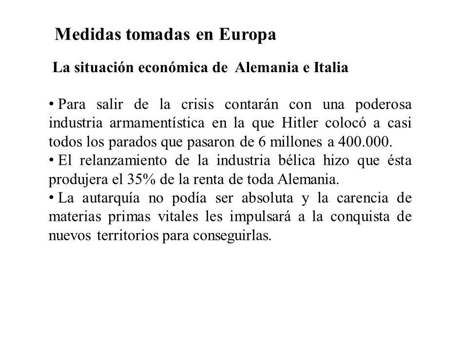 Medidas tomadas en Europa Para salir de la crisis contarán con una poderosa industria armamentística en la que Hitler colocó a casi todos los parados