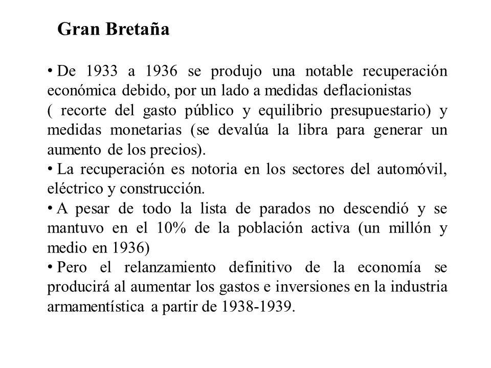 De 1933 a 1936 se produjo una notable recuperación económica debido, por un lado a medidas deflacionistas ( recorte del gasto público y equilibrio pre