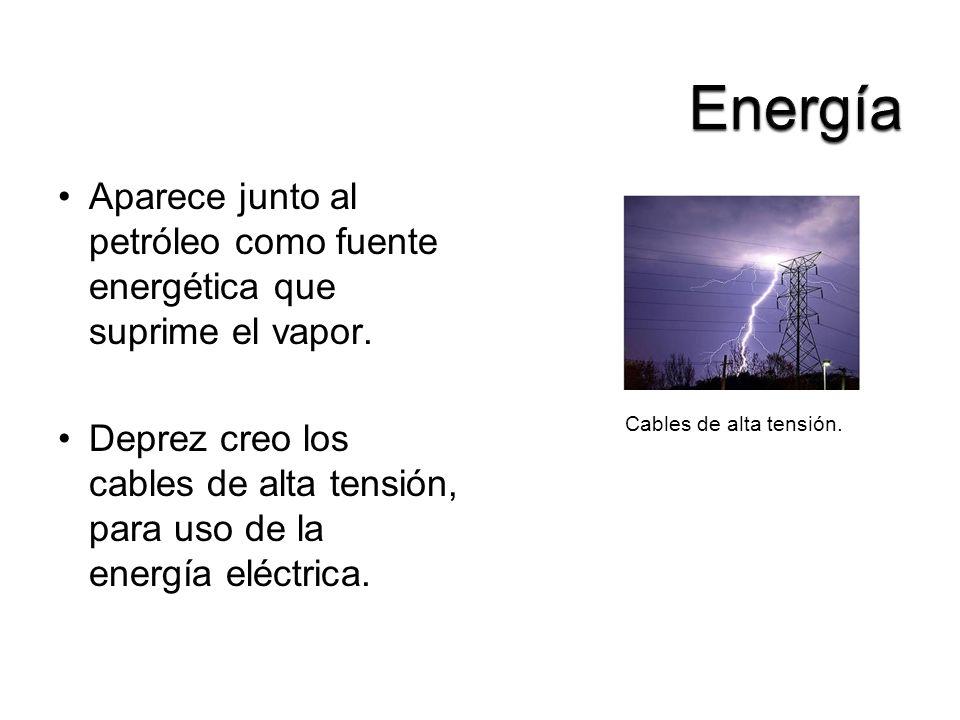 Aparece junto al petróleo como fuente energética que suprime el vapor. Deprez creo los cables de alta tensión, para uso de la energía eléctrica. Cable