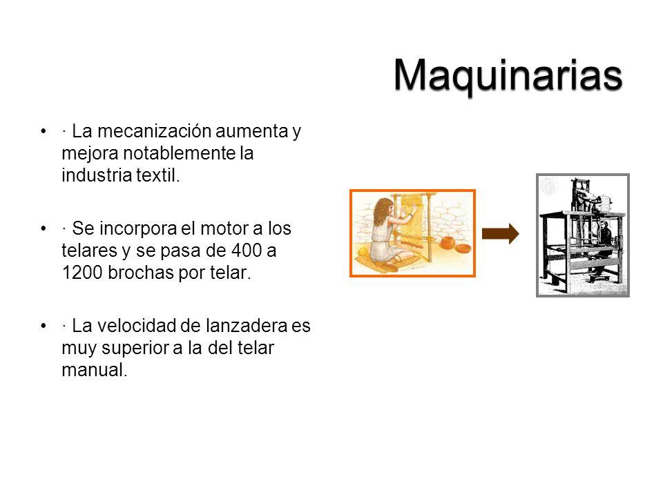· La mecanización aumenta y mejora notablemente la industria textil. · Se incorpora el motor a los telares y se pasa de 400 a 1200 brochas por telar.
