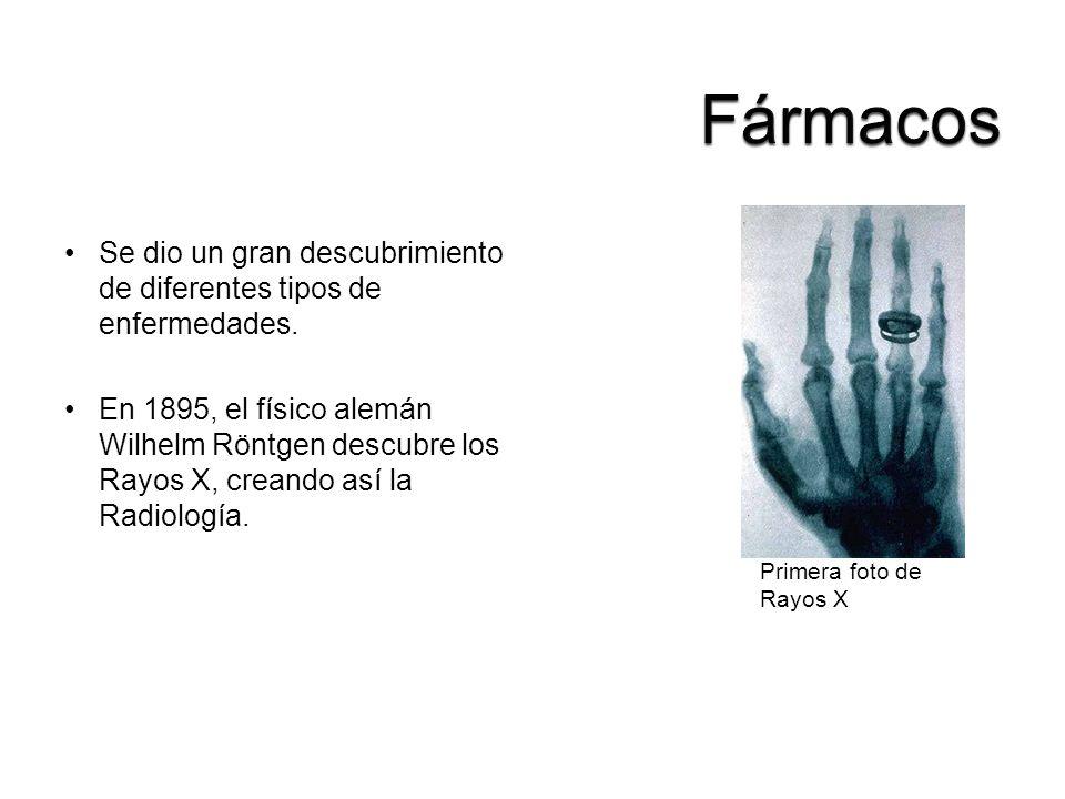 Se dio un gran descubrimiento de diferentes tipos de enfermedades. En 1895, el físico alemán Wilhelm Röntgen descubre los Rayos X, creando así la Radi