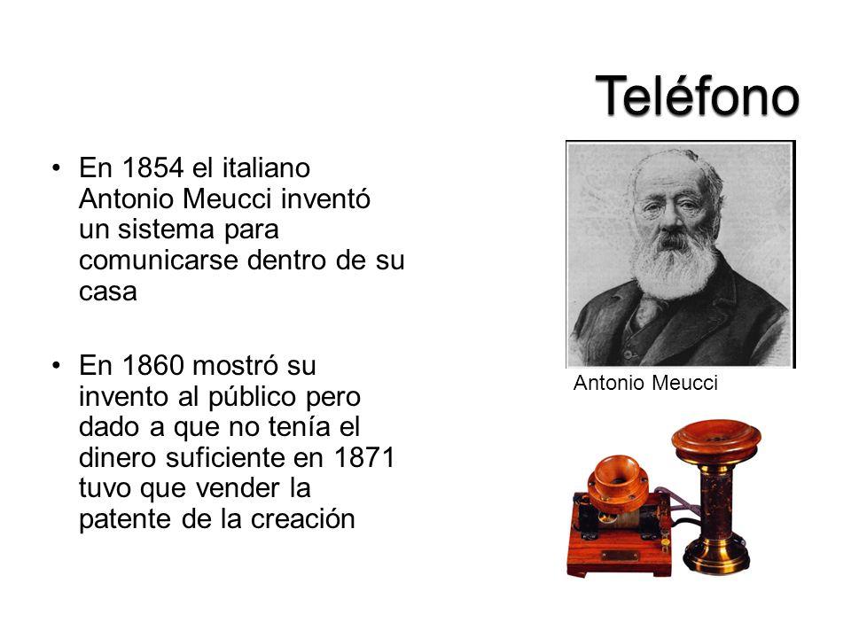 En 1854 el italiano Antonio Meucci inventó un sistema para comunicarse dentro de su casa En 1860 mostró su invento al público pero dado a que no tenía