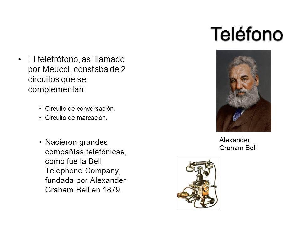 El teletrófono, así llamado por Meucci, constaba de 2 circuitos que se complementan: Circuito de conversación. Circuito de marcación. Nacieron grandes