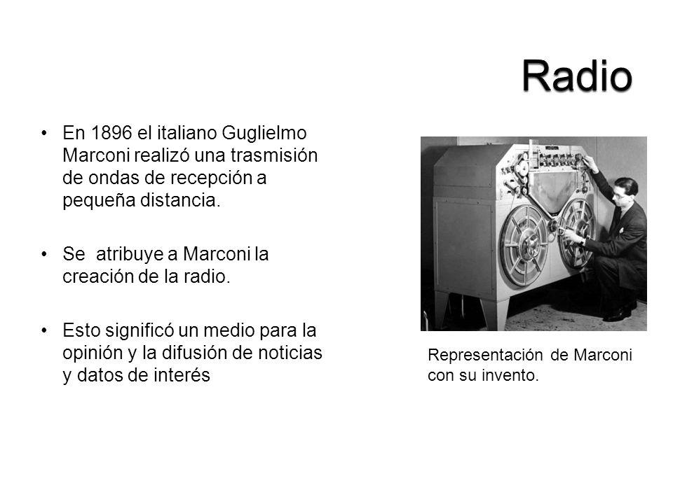 En 1896 el italiano Guglielmo Marconi realizó una trasmisión de ondas de recepción a pequeña distancia. Se atribuye a Marconi la creación de la radio.