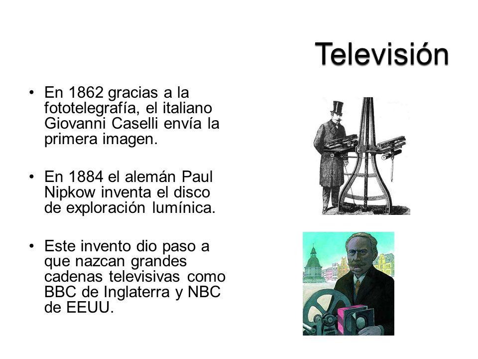 En 1862 gracias a la fototelegrafía, el italiano Giovanni Caselli envía la primera imagen. En 1884 el alemán Paul Nipkow inventa el disco de exploraci