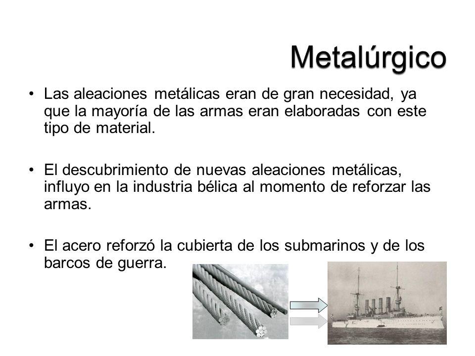Las aleaciones metálicas eran de gran necesidad, ya que la mayoría de las armas eran elaboradas con este tipo de material. El descubrimiento de nuevas