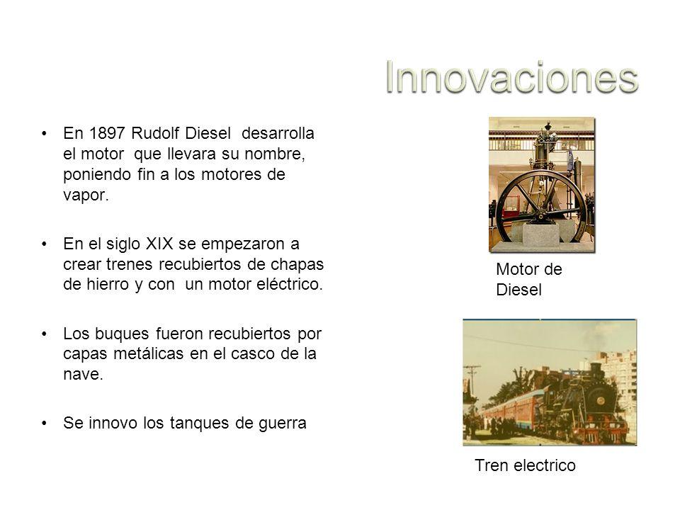 En 1897 Rudolf Diesel desarrolla el motor que llevara su nombre, poniendo fin a los motores de vapor. En el siglo XIX se empezaron a crear trenes recu