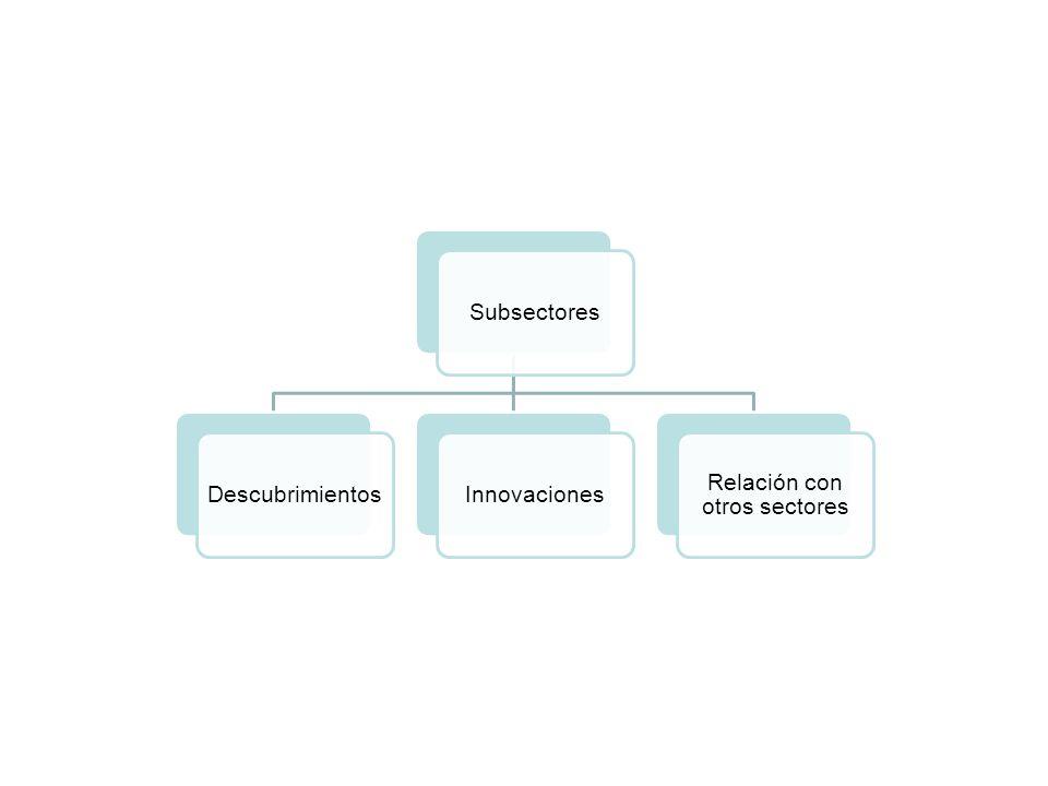SubsectoresDescubrimientosInnovaciones Relación con otros sectores