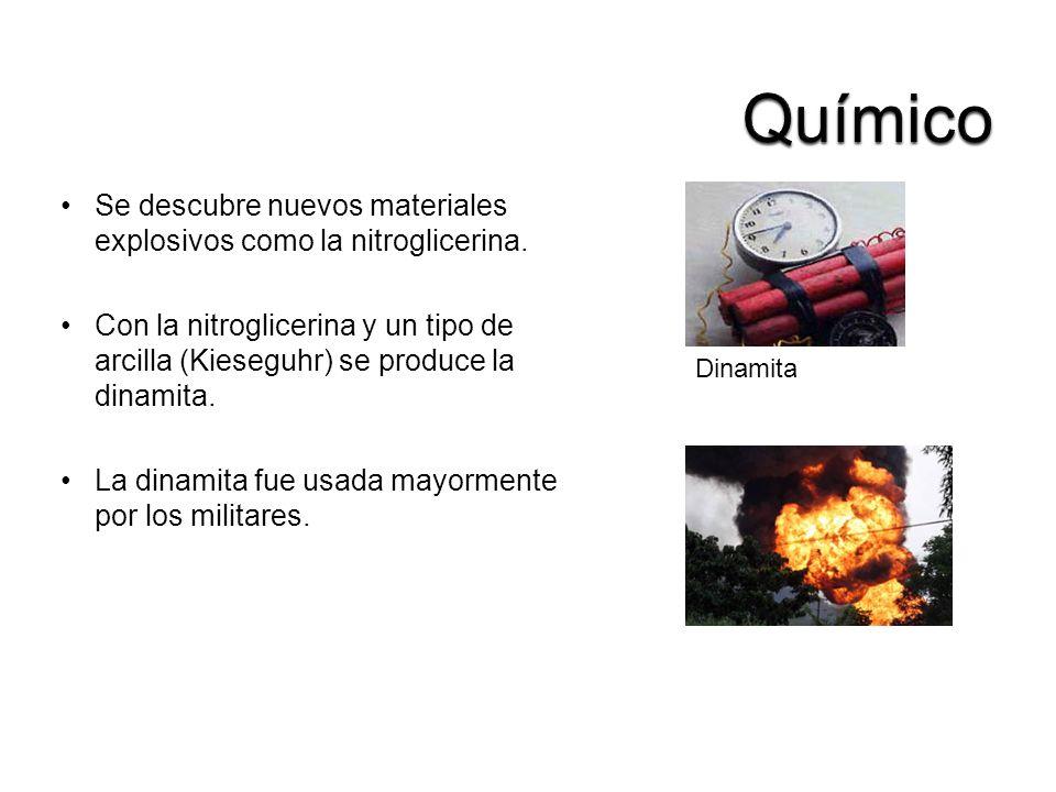 Se descubre nuevos materiales explosivos como la nitroglicerina. Con la nitroglicerina y un tipo de arcilla (Kieseguhr) se produce la dinamita. La din