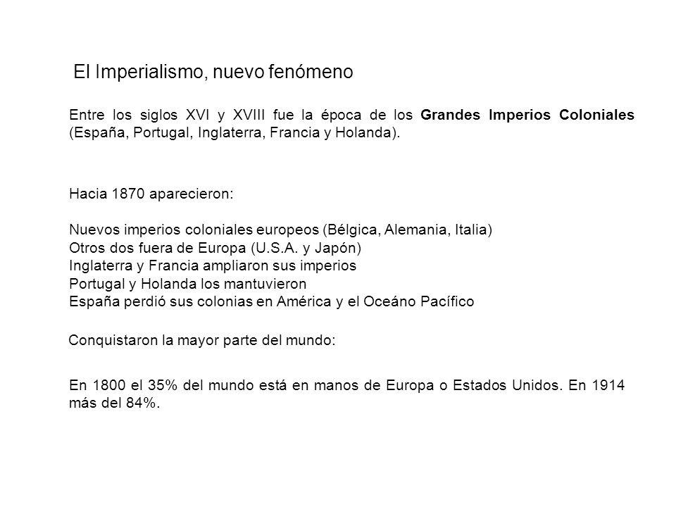 Entre los siglos XVI y XVIII fue la época de los Grandes Imperios Coloniales (España, Portugal, Inglaterra, Francia y Holanda). En 1800 el 35% del mun